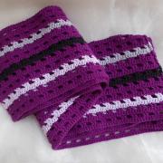 Schal *Violetta* reine Baumwolle gehäkelt lila violett schwarz gefertigt von Marion Heine Soulous Art