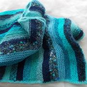 Schal * Ocean * aus Wollresten in Blautönen gestrickt gefertigt von Marion Heine Soulous Art