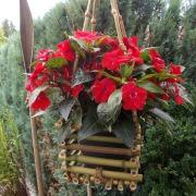 Bambuskörbchen Blumenschaukel Blumenampel Hängekorb Deko rot made by Soulous Art