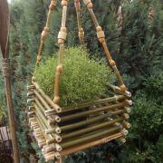 Bambuskörbchen Blumenschaukel Blumenampel Hängekorb Deko grün made by Soulous Art