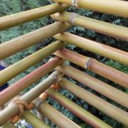 Bambuskörbchen Blumenschaukel Blumenampel Hängekorb Nahaufnahme made by Soulous Art