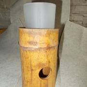Bambus- Licht Laterne Kerzenhalter für Teelicht mit Milchglaseinsatz Variante 2 made by Soulous Art
