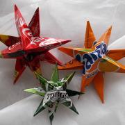 Weihnachtsstern Metallstern Dekostern Stern aus einer Blechdose Fanta Coca-Cola Tuborg made by Soulous Art