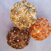 Dekokugel Weihnachtskugel Kugel Nespresso Kapseln Blumen gold baun orange Volluto Linizio Lungo made by Soulous Art