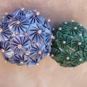 Dekokugel Weihnachtskugel Kugel Nespresso Kapseln Blumen hellblau grün Vivalto Lungo Fortissio Lungo made by Soulous Art