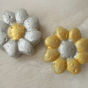 Betonblumen Beton Dekoblumen Silber Gold made by Soulous Art