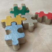 Betonpuzzle Puzzleteile Puzzle Beton Deko metallic gold silber pink grün blau made by Soulous Art