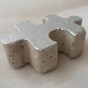 Betonpuzzle Puzzleteile Puzzle Beton Deko silber made by Soulous Art