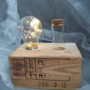 Palettenlicht Licht Lampe LED Leuchte Holz Palette Klotz Klotz Pillen Glas Dose Industrie Design made by Soulous Art