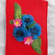 Kornblume E-Book Reader Hülle Case Hülle Tasche Schutz Handmade leicht Filz rot Unikat gefertigt von Marion Heine Soulous Art