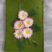 Gänseblümchen E-Book Reader Hülle Case Hülle Tasche Schutz Handmade leicht Filz grün Unikat gefertigt von Marion Heine Soulous Art